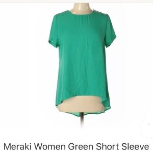 MERAKI KELLY GREEN BLOUSE L NWT